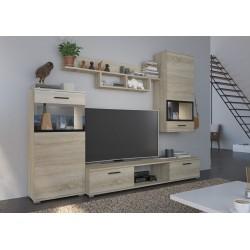 Mueble TV mural ATLANTA  roble y blanco con espacios